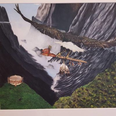 """Heartbeat"" a prisma color pencil drawing of the Eagle flying with the Peacepipe down over the Earth's landscape where , below, the drum signals it's heartbeat. Native American artist Skylar Burkhardt created this work for the Spirit show."